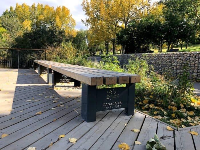 Canada 150 bench at Confederation Park Calgary