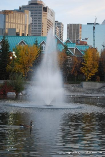Prince's Island Park lagoon fountain - Calgary Parks with Great Fall Leaves
