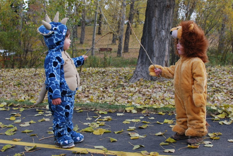 Kids in Halloween costumes at Confederation Park in Calgary