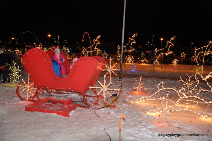 sleigh photo op at Airdrie Festival of Lights