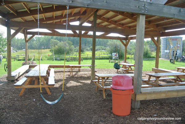 Covered picnic area with swings