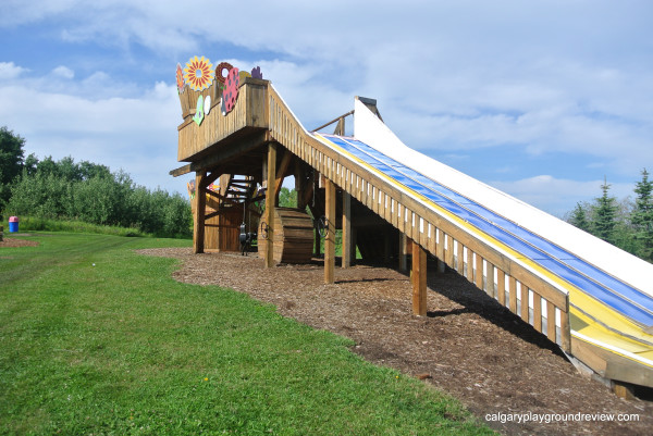 Large wooden slide at Kayben Farms – Sunshine Adventure Park