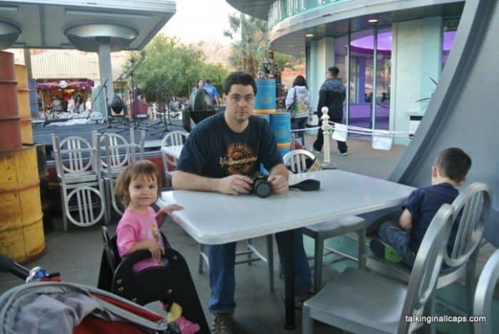 Waiting for dinner at Flo's Cafe in Disneyland.