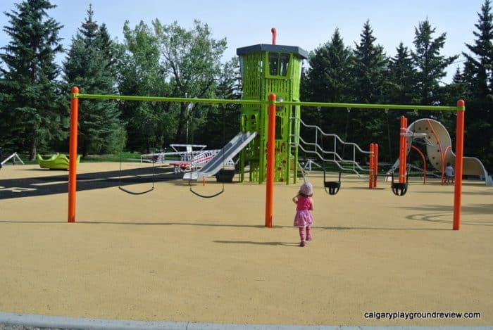 two baby swings, two regular swings - Currie Barracks Airport Playground