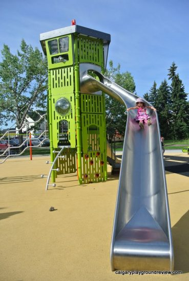 Large silver slide and playground control tower - Currie Barracks Airport Playground