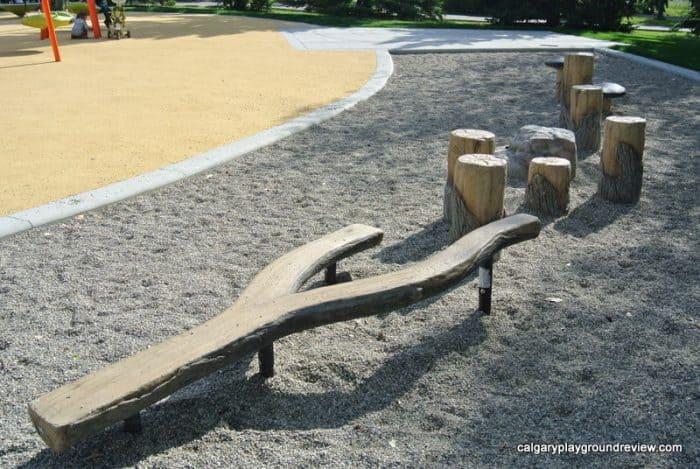 Natural playground equipment at Currie Barracks Airport Playground
