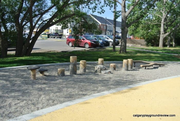 Natural play area at Currie Barracks Airport Playground