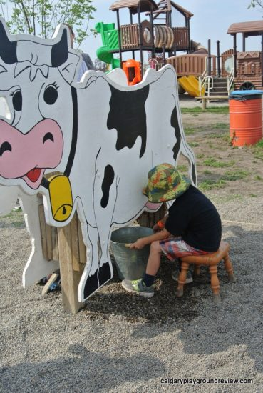 Wooden milking cow