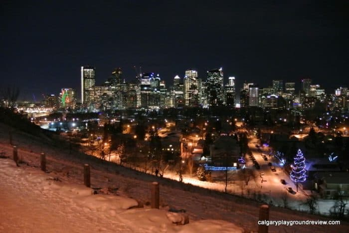 Crescent Road in Calgary at Christmastime