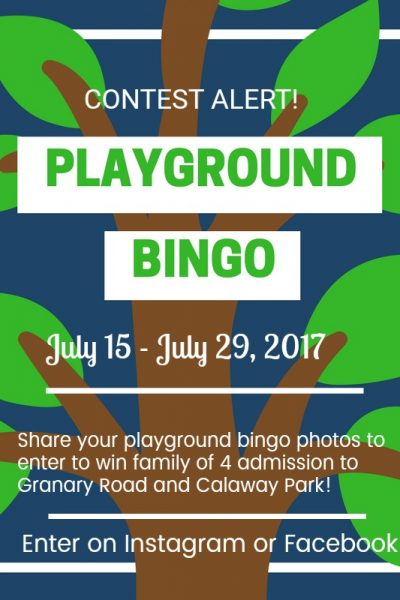 Playground Bingo – free printable! {Giveaway from Granary Road and Calaway Park}