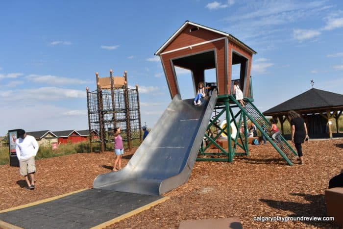 Playground with wide slide