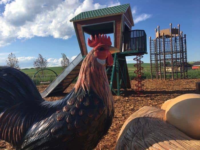 Giant chicken and playground