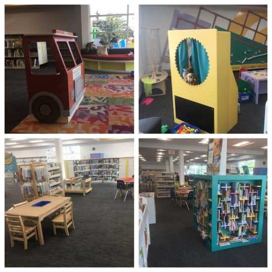 Calgary Library Early Learning Centre - puppet theatre, tables, children's book shelves