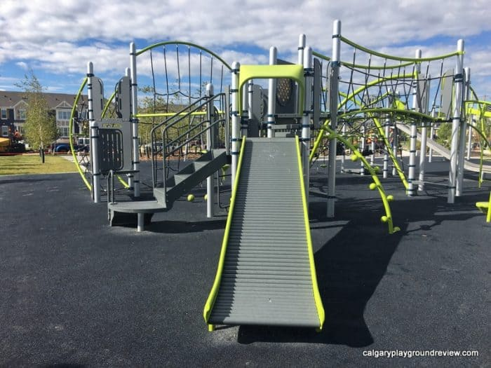 Carrington Playground with zipline and roller slide - Calgary's best playgrounds 2019