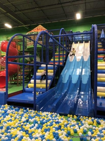 Triple slide into the ball pit at the Big Box
