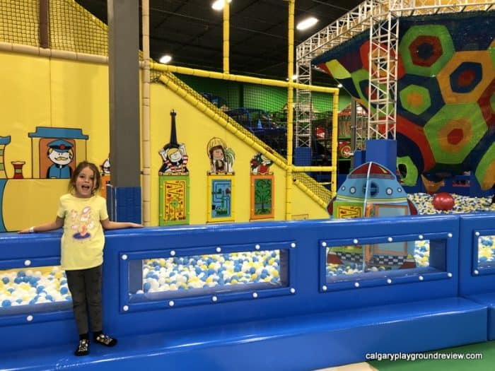 Activity panels inside the ball pit