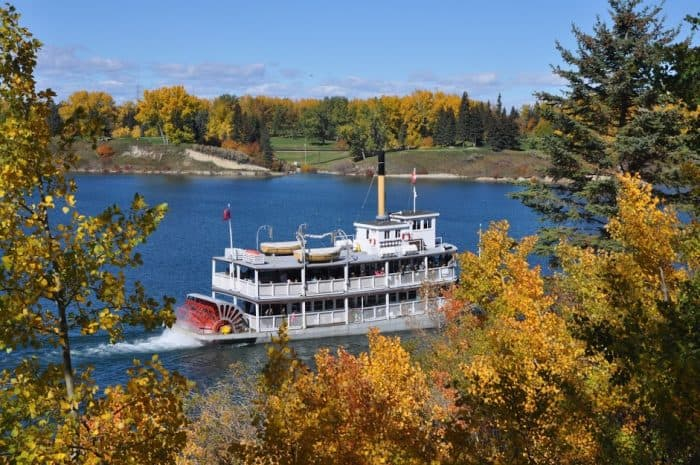 SS Moyie at Heritage Park in the fall - Calgary Parks with Great Fall Leaves