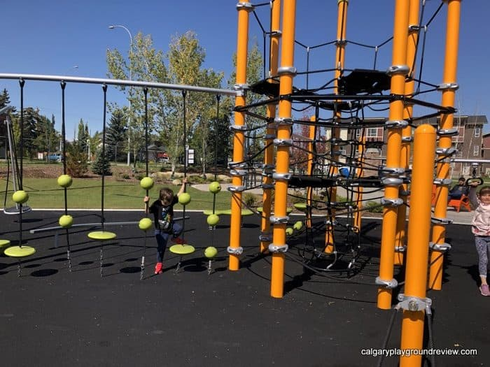Playground features at Harvest Park - Calgary, Alberta