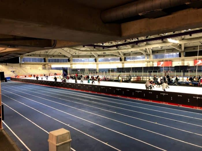 View of the inside of the Olympic Oval - running track, speed skating track and hockey rink