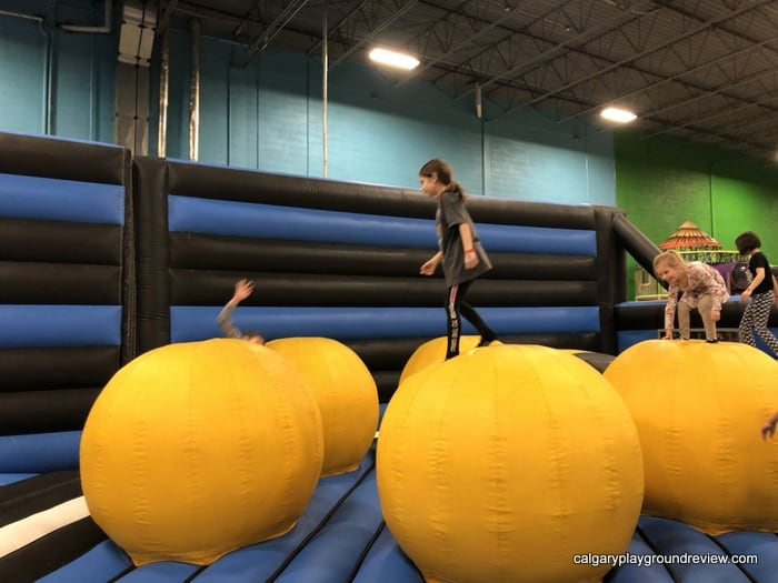 Big balancing balls at the inflatable play area