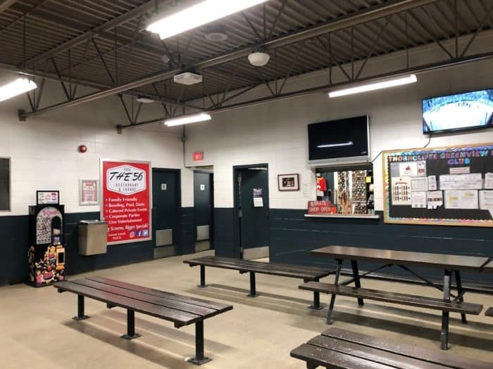 Lobby at the Thorncliffe Greenview Arena - view of the skate shop