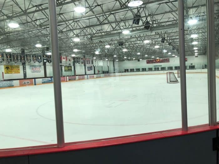 View down the ice at the Thorncliffe Greeniew Arena