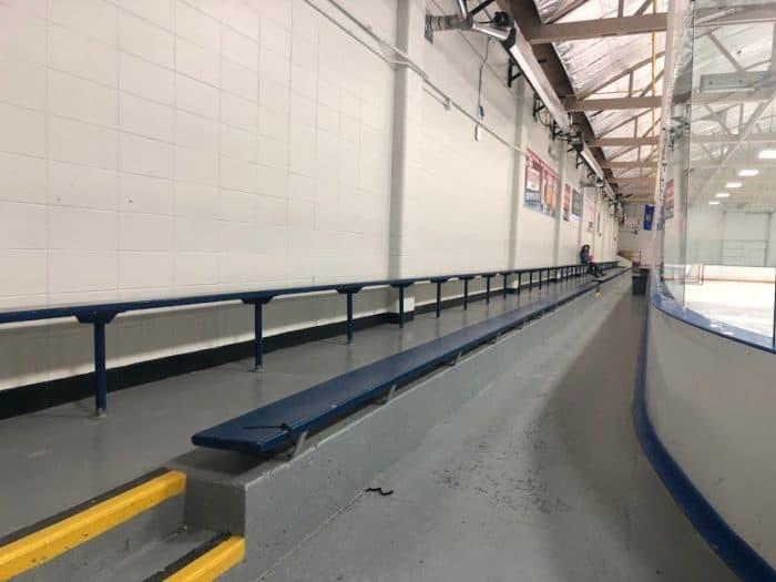 long viewing benches at Rose Kohn Arena